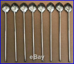 Set of 8 Shell Sterling Silver Iced Tea Mint Julep Straws Sipper Spoons Stirrers