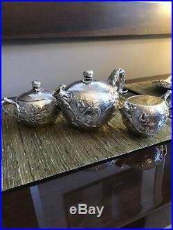 Shiebler Aesthetic Naturalistic Hammered 3 Pc Sterling Tea/coffee Set Pristine
