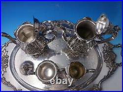 Sir Christopher by Wallace Sterling Silver Tea Set 4pc with Silverplate Tray #5138