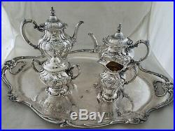 Sterling GORHAM Coffee & Tea Set CHANTILLY DUCHESS no mono with SP Tray