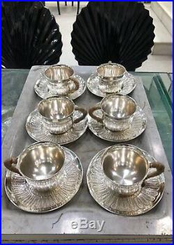 Sterling Silver 925 Coffee Tea Cup & Saucer Set Home Decor Tableware Gift