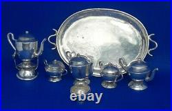 Sterling Silver Miniature Tea Set With Sterling Tray & Tea Kettle withStand