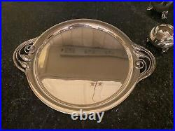 Sterling Silver Tea / Coffee Set with Tray Blossom Georg Jensen Style Danish