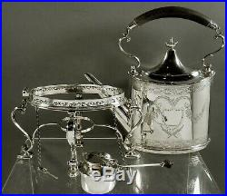 Sterling Silver Tea Set Kettle & Stand Georgian 64 Ounces