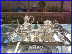 Sterling Silver Tea Set Matching Tray