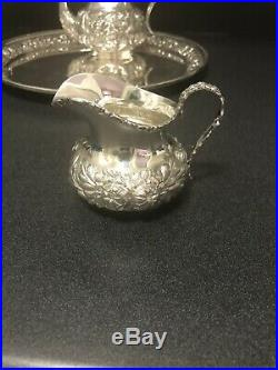 Stieff Repousse Sterling Tea/coffee Set With Matching Sterling Tray All Original
