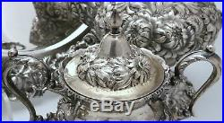 Stieff Rose Repousse Sterling Silver Tea Coffee Set