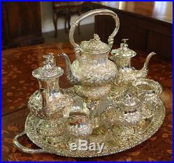 Stieff Rose Tea Set Sterling Silver 7 Piece 260 oz Kettle on Stand! Repousse