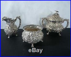 Stieff repousse sterling silver tea set, heavily decorated. 5pc