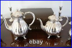 Stunning Antique German Sterling Silver Coffee Tea Service Set Melon Pattern