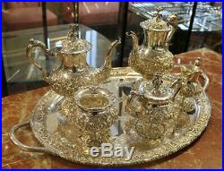 Superb Stieff Hand Wrought Repousee Two Tea Pot Sterling Silver 6 PC Tea Set