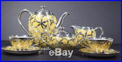 Thomas Bavaria Germany Sterling Silver Overlay 5 Piece Tea Set