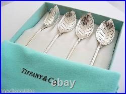Tiffany & Co Leaf Mint Julep Iced Tea Spoons Straw Rare Set Of 4 Silver Gift