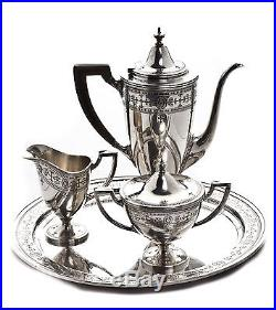 Tiffany & Co. Sterling Silver Black Filigree 4 Piece Tea Teapot Service Set