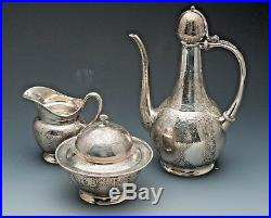 Tiffany & Co. Tea Set, Sterling Silver, 3 Pieces. May be Persian Pattern