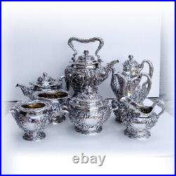 Tiffany Co Violet Repousse 8 Piece Tea Coffee Set Sterling Silver 1895