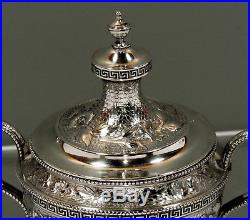 Tiffany Sterling Silver Tea Set c1865 HAND DECORATED STANDING EAGLE CREST