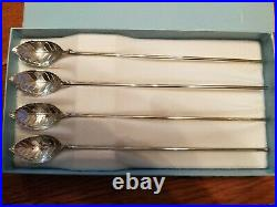 Tiffany & co. Sterling silver set of 4 leaf mint julep iced tea spoons straw