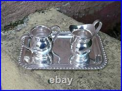 VTG STERLING SILVER MEXICAN SMALL MINIATURE TEA SET OF TRAY CREAMER & BOWL 163gr