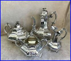 Victorian Sterling Silver 4-Piece Tea & Coffee Set, George Angell, c. 1852