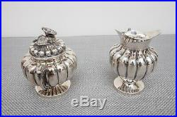 Vigueras Sterling Silver Repousse Tea Set with Tray, c. 1940-50, Mexican, 4 Piece