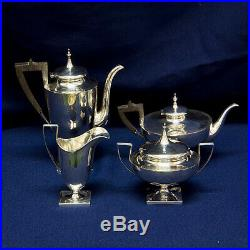 Vintage 4 piece Sterling Silver Tea Coffee Set with wood handles 26.75 oz troy