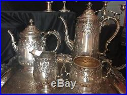 Vintage Hand Chased Sterling Silver Tea & Coffee Set with matching plate