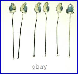 Vintage Sterling Creations by Webster Set of 6 Iced Tea Straws Sterling Silver