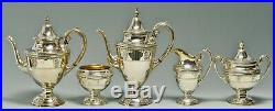 WALLACE ROSE POINT STERLING TEA SET with TRAY 1930s EXQUISITE