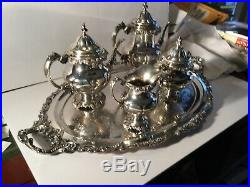 Wallace Grande Baroque 5 piece sterling silver tea set and 1 silver plate tray