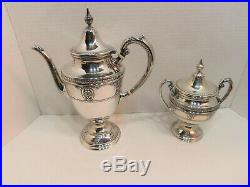 Wallace STERLING Silver Tea Set Rose Point withLARGE Tray 1930s MINT No Mono