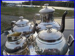 Whiting Sterling Silver Tea Set 4pc #412 Contemporary Style Tea & Coffee Pot