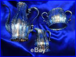 Whiting Sterling Silver Tea Set Pot, Sugar, Creamer Very Good Condition M2