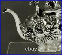 Whiting Sterling Tea Set c1910 HIBISCUS