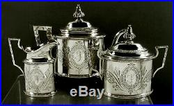 William Gale & Son. Sterling Tea Set 1862 Hand Decorated