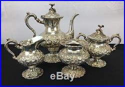 Wonderful Antique Repousse Tea Set By Stieff Sterling Silver Company 2200 Grams